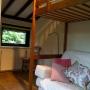 slaapkamer met slaapbank (twijfelaar 120 breed) en hoogslaper